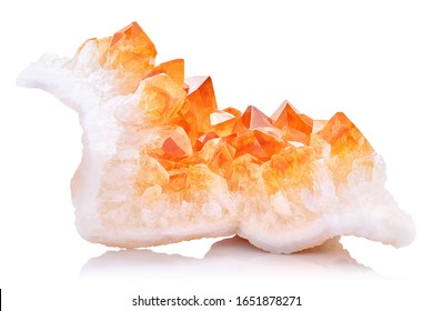 Extreme sharp and detailed closeup macro of amazing orange Citrine Quartz Crystal mineral stone cluster isolated on white background.  Natural raw translucent shiny specimen of yellow crystal rock.