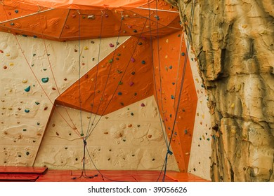 Extreme sport climbing up mountain rock build wall