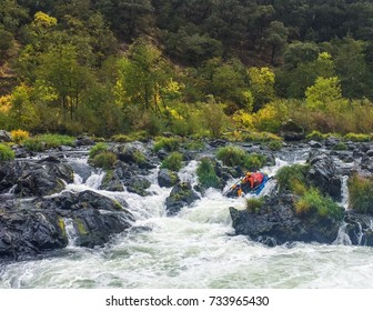 Extreme Sports Rafting On Rogue River At Rainy Falls, Oregon