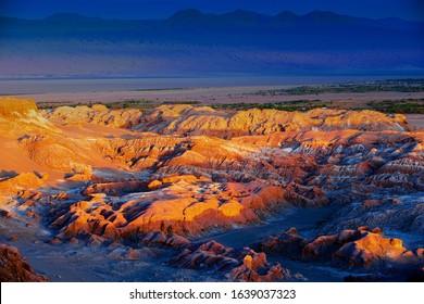 Extreme terrain of the Death valley in Atacama desert at sunset at San Pedro de Atacama, Chile.
