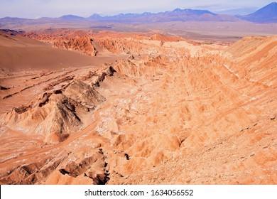Extreme terrain of the Death valley formations in Atacama desert at San Pedro de Atacama, Chile.
