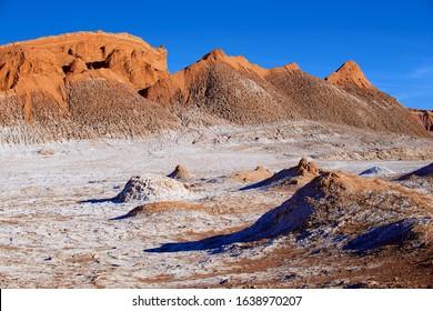 Extreme terrain of the Moon valley in Atacama desert at San Pedro de Atacama, Chile.