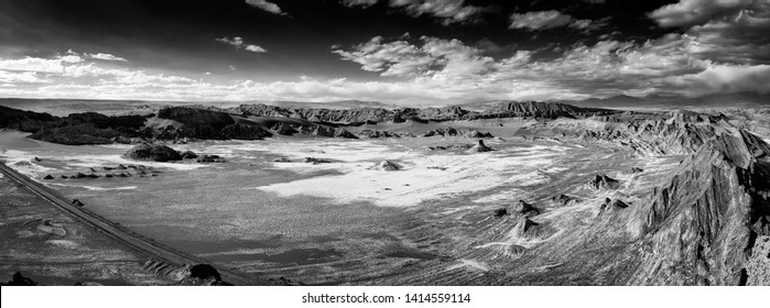 Extreme territory in  Valley of the moon. Atacama desert. Chile. South America. The photo does not contain noise. It is clay dust, salt and sand. Black and White photo