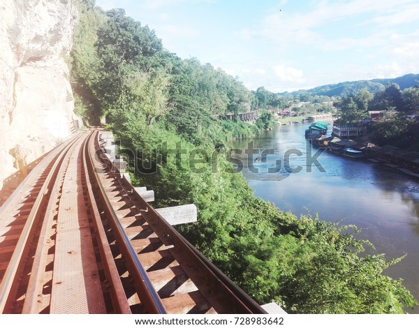 Extreme Train Tack Beside River Thailand Stock Photo (Edit Now