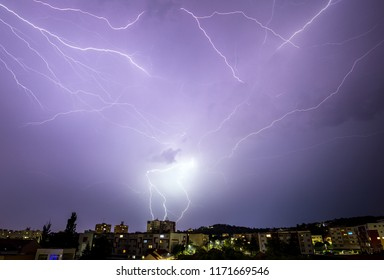 extreme weather storm and glimmer lightning over the city town