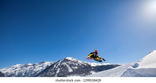 extreme winter sports with snowmobile