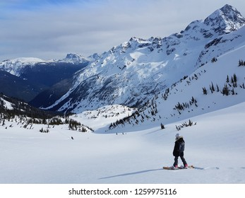 Extreme young female snowboarder enjoys the picturesque view of the untouched Canadian wilderness on a perfect sunny day. Woman observing the scenic valley before snowboarding down the untouched hill