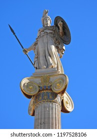 Extreme zoom iconic statue of Athena in Academy of Athens, Athens historic center, Attica, Greece