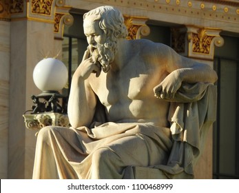 Extreme zoom of iconic statue of famous ancient philosopher Socrates in Academy of Athens, Athens historic center, Attica, Greece