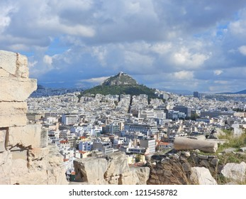 Extreme zoom photo of famous Lycabettus hill as seen from Acropolis, Athens, Attica, Greece