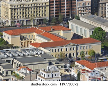 Extreme zoom photo from iconic neoclassic building of University of Athens, Athens historic center, Attica, Greece