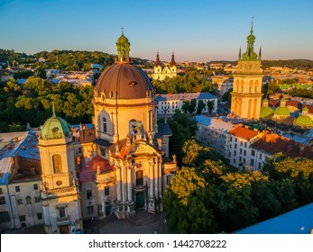 Extremely beautiful panorama at sunset . Romantic Lviv, from the height of the bird's eye. Lviv is the cultural capital of Ukraine and is a favorite destination for tourists from all over the world.