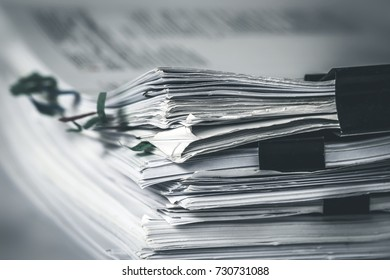 extremely close up  stacking of office working document with paper clip folder, vintage color tone