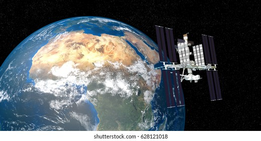 Extremely detailed and realistic high resolution 3D image of ISS International Space Station orbiting Earth. Shot from outer space. Elements of this image are furnished by NASA.
