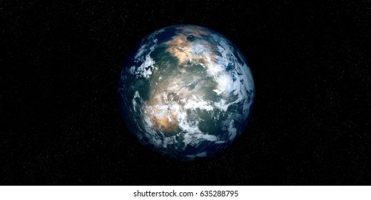 Extremely detailed and realistic high resolution 3D illustration of an earth like Exoplanet. Shot from space. Elements of this image are furnished by Nasa.