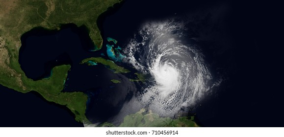 Extremely detailed and realistic very high resolution illustration of hurricane irma hitting the Caribbean. Shot from Space. Elements of this image are furnished by Nasa.