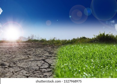 extremely dry soil next to fresh grass - climate protection