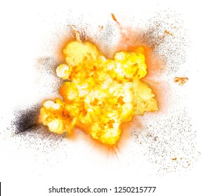 Extremely hot fiery explosion with sparks and smoke, against white background