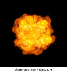 Extremely massive fire explosion, orange color with sparks isolated on black background, high resolution image
