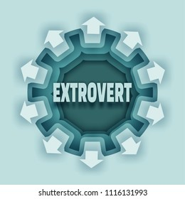 Extrovert abstract scheme. Illustration relative to human psychology