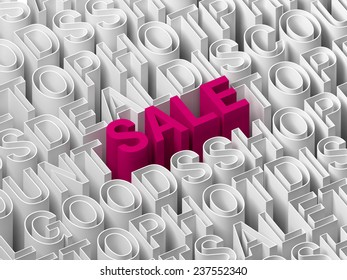 Extruded saleword with pink color