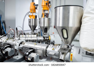 Extruder machine for extrusion of plastic material, close-up view
