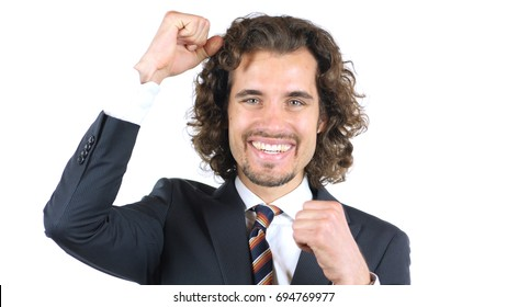 Exulting Businessman gets excited and finally wins