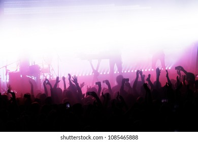 Exulting crowd of people with their hands up in front of the stage during the concert