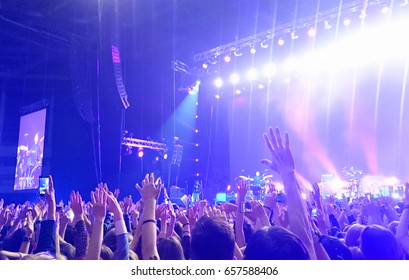 Exulting crowd with raised nands during concert at the stadium