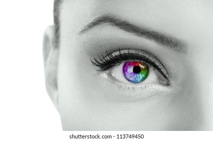 eye - Beautiful  colorful eye  - rainbow color , close up