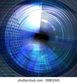 Eye being scanned on a dark blue background