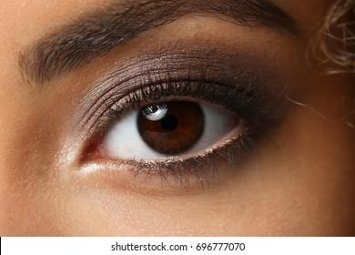 Eye of a black woman shot large macro