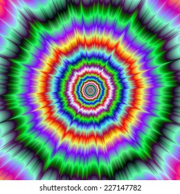 Eye Boggling Explosion / An abstract fractal image with an eye boggling explosive design in green purple yellow and red.