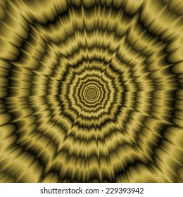 Eye Boggling Explosion in Gold / A digital abstract fractal image with an optically challenging monochrome explosion design in old gold.