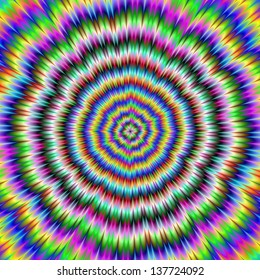 eye boggling psychedelic / Digital abstract fractal image with an eye boggling psychedelic design producing an optical illusion of movement in blue, yellow, green and pink.