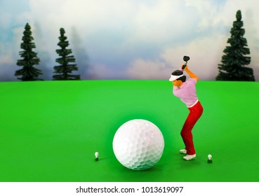 Eye catching image of a lady golfer. Room for your text for Ladies Day, tournaments, pro shop sales and course name and number. Promote lessons and greens fee specials on green fairway and sky.