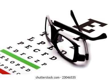 An eye chart with a black frame eyeglasses.