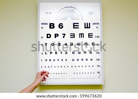 Eye Chart Medical Clinic Eye Chart Stock Photo Edit Now 599673620