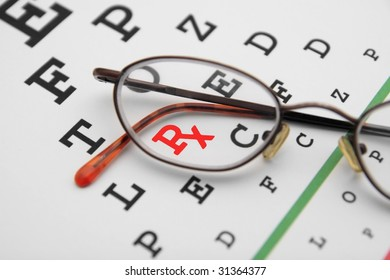 eye chart with prescription symbol