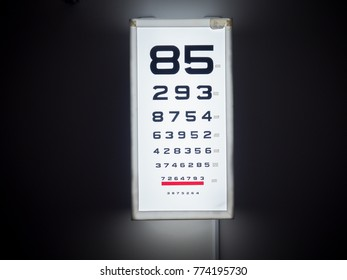 eye chart test box in front of black wall.