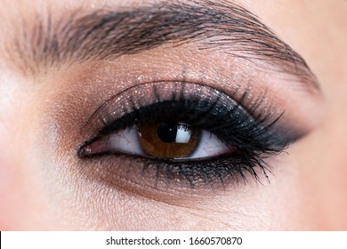 Eye close up. Beautiful female eyes with long eyelashes, closeup. Eye make up. Close up eyes with bright makeup. Arabic makeup