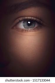eye close-up hiding in shadows