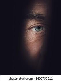 eye close-up macro shot spying concept