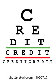 Eye exam chart made up of credit words