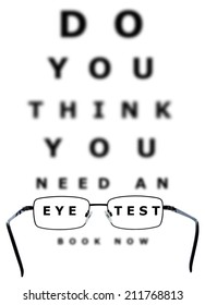 Eye examination chart with all the letters blurred apart from the words eye and test through the glasses