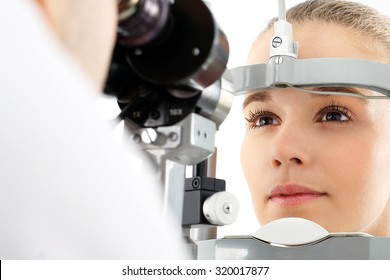 Eye examination.The patient during an eye examination at the eye clinic