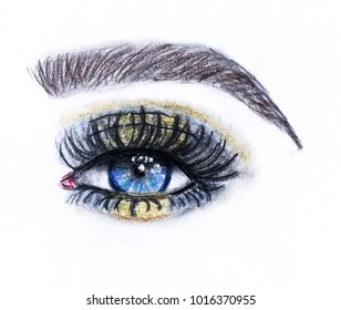 Eye and eyebrow with make up. Hand drawn fashion illustration. Watercolor and pencil painting.