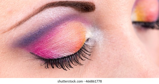 Eye with fashion make-up, closeup