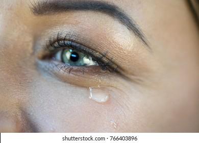 Eye of a girl with a tear