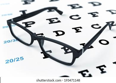 Eye glasses and eye chart. 3d image